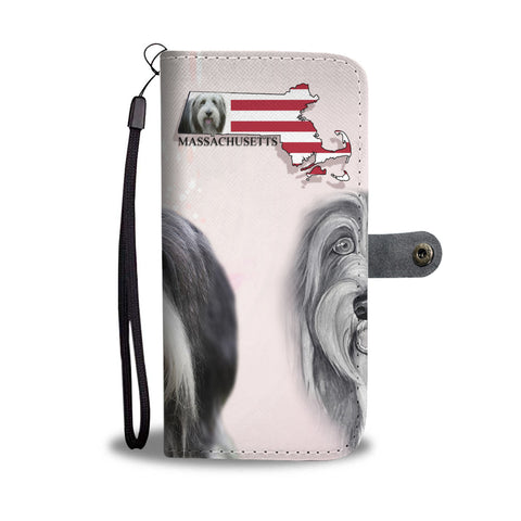 Bearded Collie Print Wallet CaseMA State