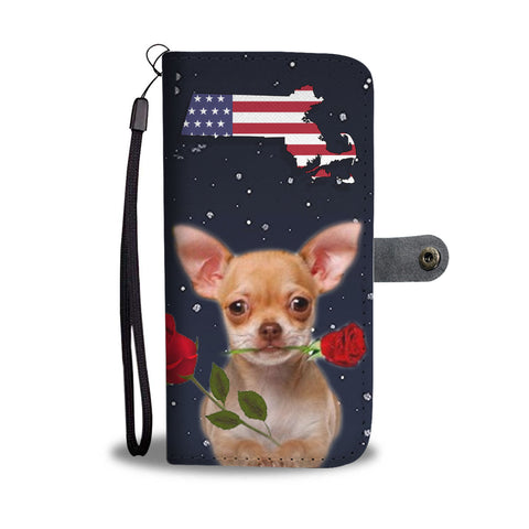 Chihuahua dog Print Wallet CaseMA State