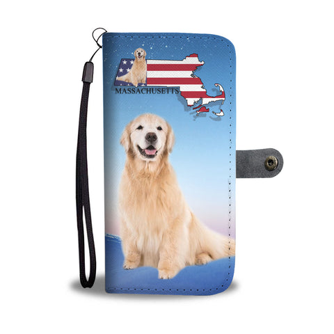 Golden Retriever Print Wallet CaseMA State