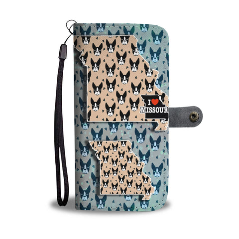 Amazing Boston Terrier Pattern Print Wallet CaseMO State