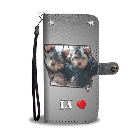 Lovely Yorkshire Terrier Print Wallet Case IA State
