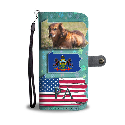 Dachshund Dog Print Wallet CasePA State
