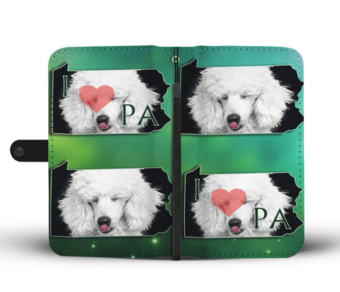 Cute Poodle Dog Print Wallet CasePA State