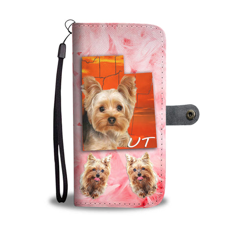 Yorkshire Terrier On Pink Print Wallet CaseUT State