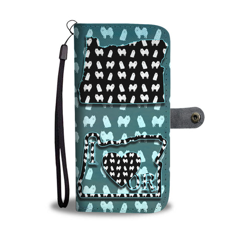 American Eskimo Dog Pattern Print Wallet CaseOR State