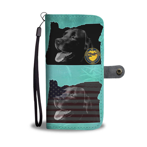 Amazing Black Labrador Print Wallet CaseOR State