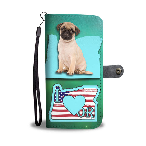 Cute Pug Print Wallet CaseOR State