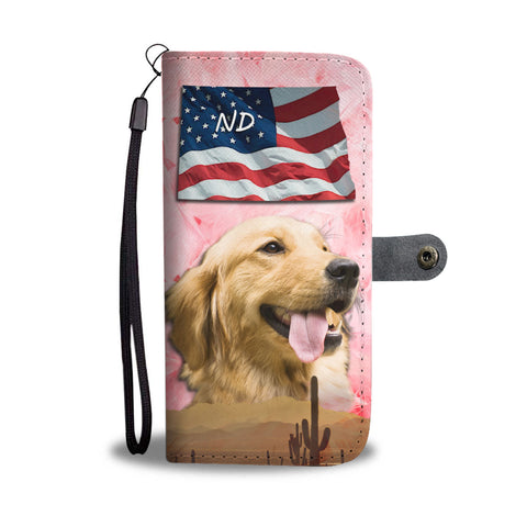 Golden Retriever On Pink Print Wallet CaseND State