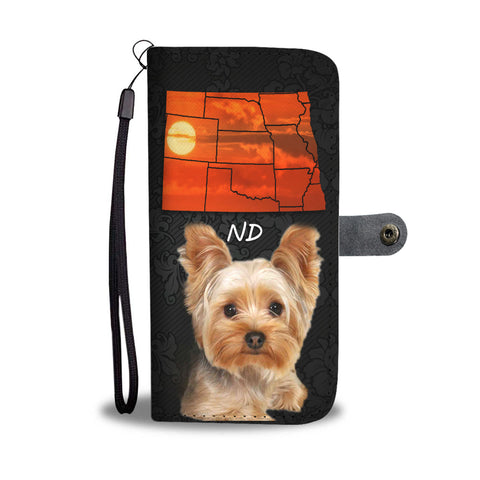 Yorkshire Terrier On Black Print Wallet CaseND State