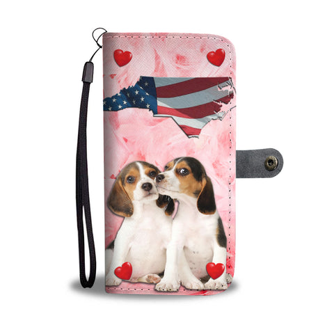 Lovely Beagle Dog Print Wallet CaseNC State