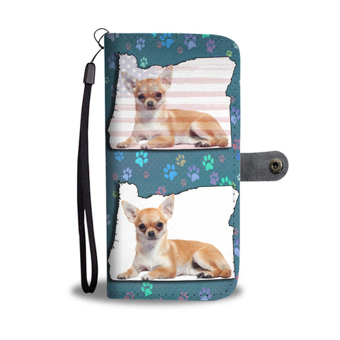 Cute Chihuahua Dog Print Wallet CaseOR State