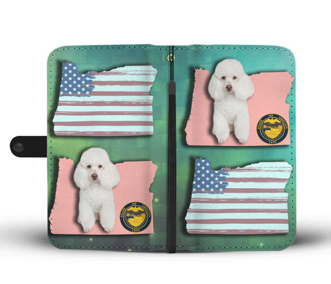 Cute Poodle Dog Print Wallet CaseOR State