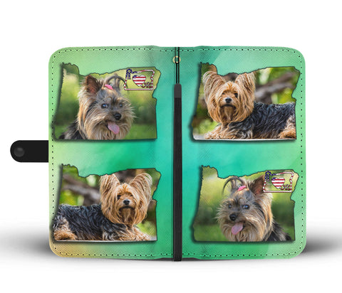 Cute Yorkie Print Wallet CaseOR State