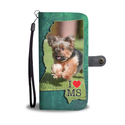 Cute Yorkie Print Wallet CaseMS State