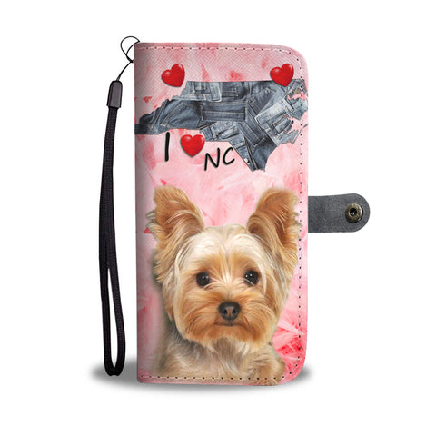 Yorkshire Terrier On Pink Print Wallet CaseNC State