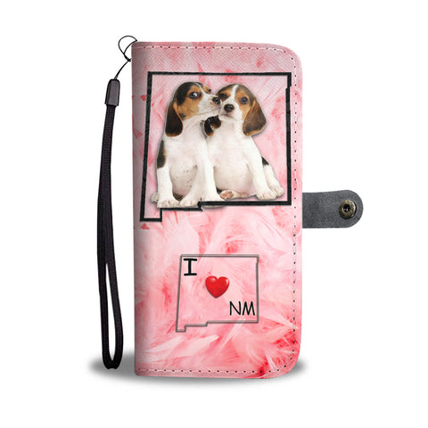 Lovely Beagle Dog Print Wallet CaseNM State