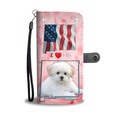 Lovely Maltese Dog Print Wallet CaseNM State