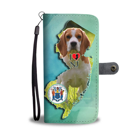 Cute Beagle Dog Print Wallet CaseNJ State