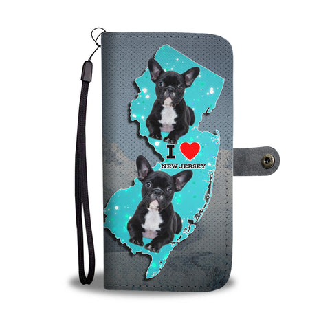 Cute French Bulldog Print Wallet CaseNJ State