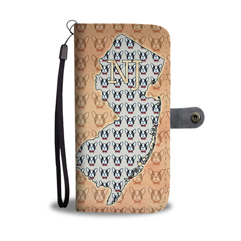 French Bulldog Pattern Print Limited Edition Wallet CaseNJ State