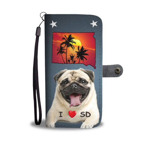 Pug Dog Print Wallet CaseSD State