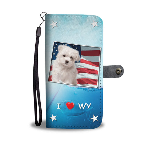 Maltese Dog Print Wallet CaseWY State