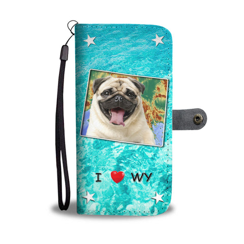 Cute Pug Dog Print Wallet CaseWY State