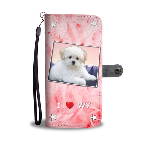Lovely Maltese Dog Print Wallet CaseWY State
