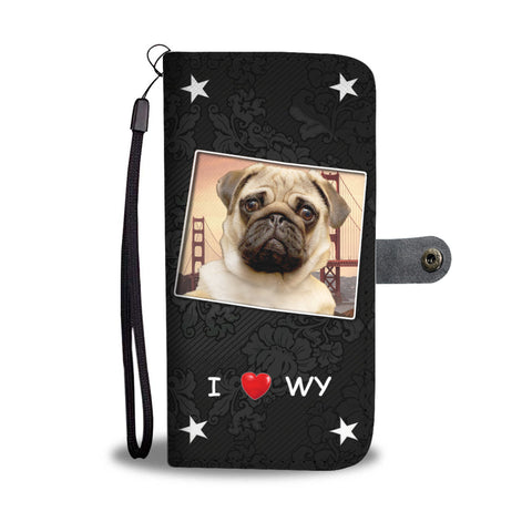 Pug Dog On Black Print Wallet CaseWY State