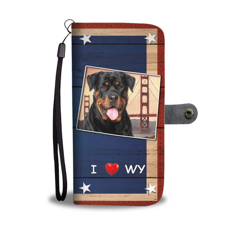 Rottweiler Dog Print Wallet CaseWY State