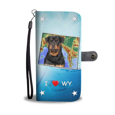 Cute Rottweiler Dog Print Wallet CaseWY State