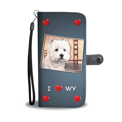 West Highland White Terrier Print Wallet CaseWY State