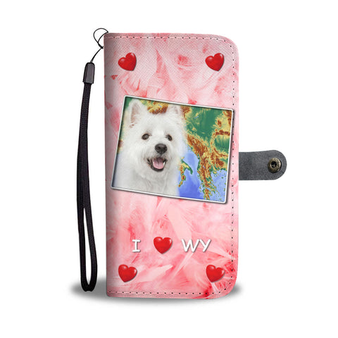 Cute West Highland White Terrier Print Wallet CaseWY State