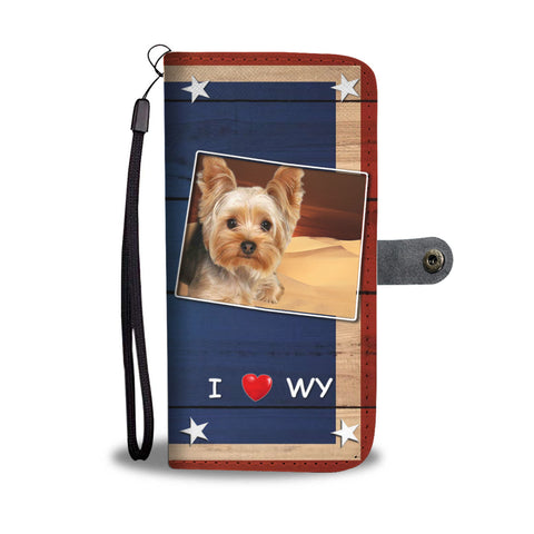 Yorkshire Terrier Print Wallet CaseWY State