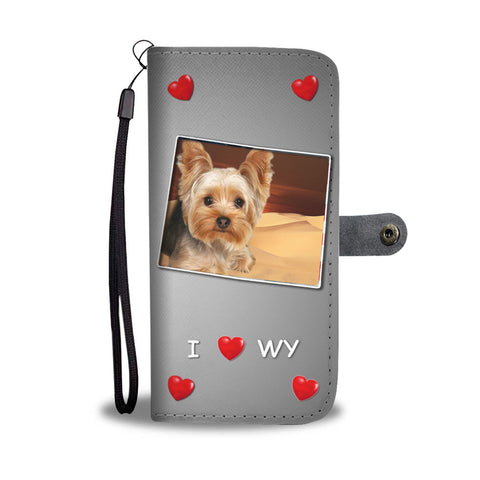Lovely Yorkshire Terrier Print Wallet CaseWY State