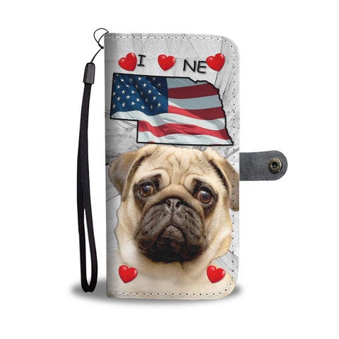 Pug On White Print Wallet CaseNE State