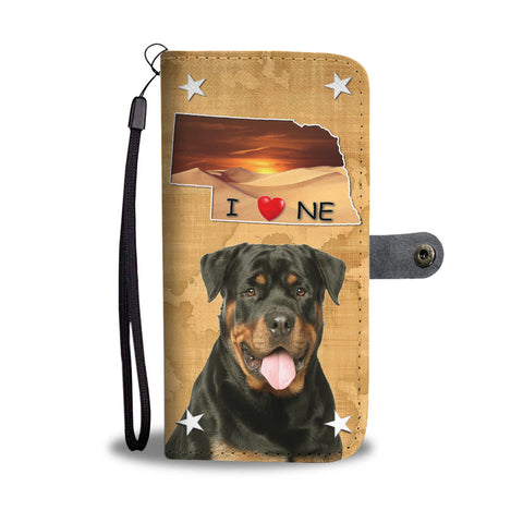 Lovely Rottweiler Dog Print Wallet CaseNE States