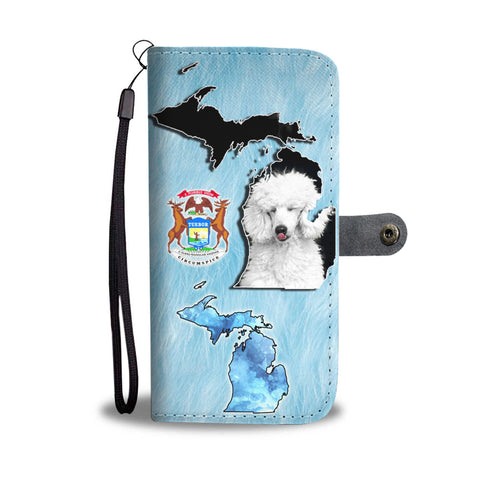 Cute Poodle Print Wallet CaseMI State