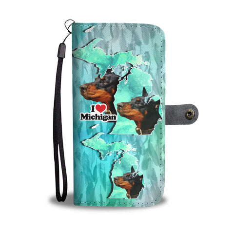 Doberman Pinscher Dog Print Wallet CaseMI State