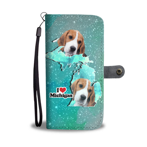 Lovely Beagle Print Wallet CaseMI State