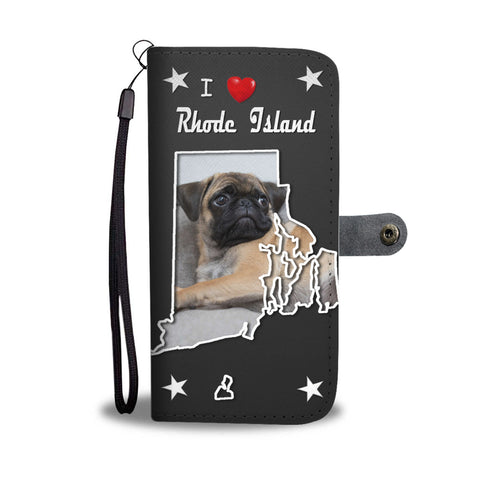 Pug Dog On Black Print Wallet CaseRI State