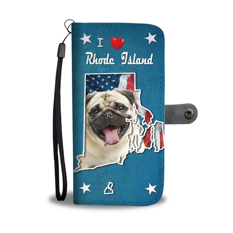 Cute Pug Dog Print Wallet CaseRI State