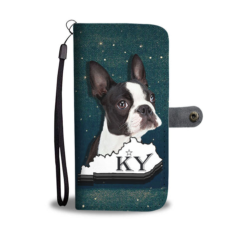Boston Terrier 3D Print Wallet CaseKY State