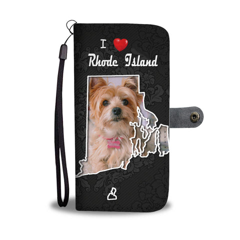 Yorkshire Terrier On Black Print Wallet CaseRI State