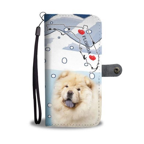 Cute Chow Chow Dog Print Wallet CaseFL State