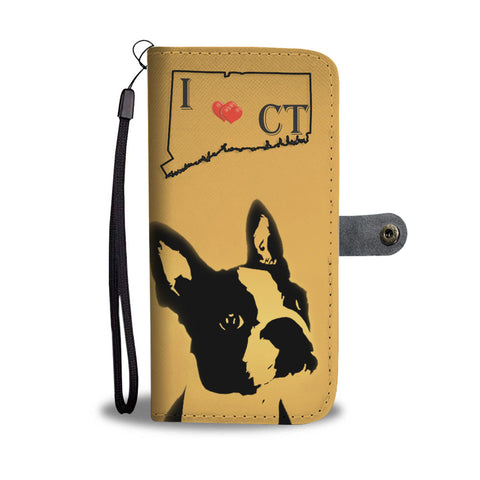 Amazing Boston Terrier Art Print Wallet CaseCT State