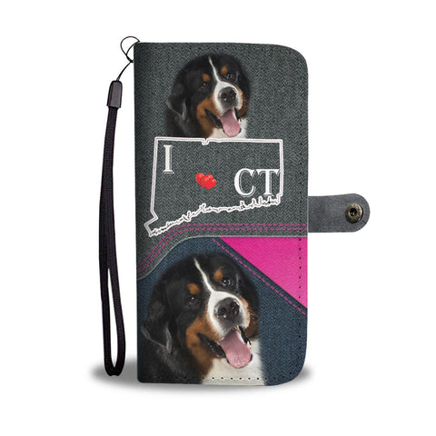 Bernese Mountain Dog Print Wallet CaseCT State