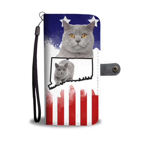 British Shorthair Cat Print Wallet CaseCT State
