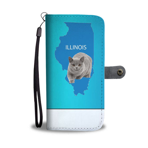 British Shorthair Cat Print Wallet CaseIL State