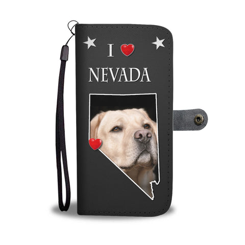 Labrador Retriever On Black Print Wallet CaseNV State